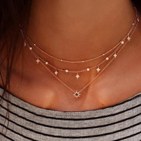 Gold crystal stars choker necklace