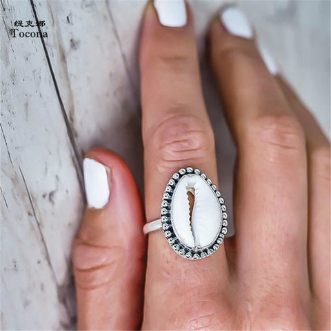 Bohemian Antique Silver Shell Ring