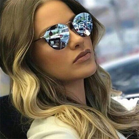 Retro Rimless Mirror Shades Sunglasses UV400