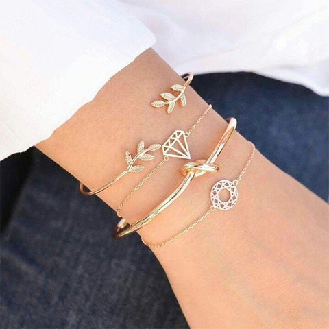 Bohemia Leaf Round Knot Cuff Bangle Set