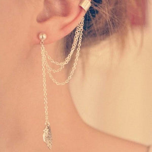 Personality Leaf Tassel Clip Earrings