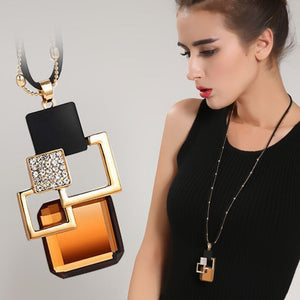 Femme Geometric Long Statement Necklace