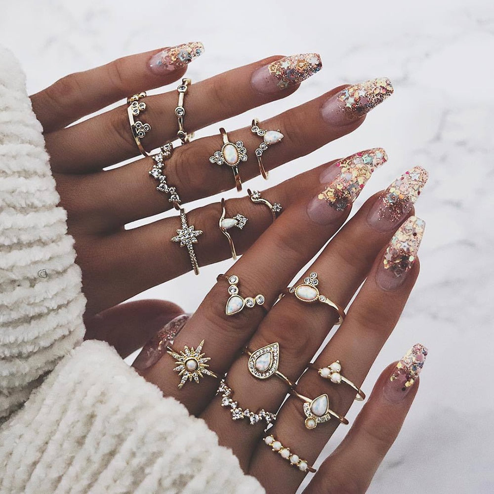 Boho Vintage  Gold MIdi Ring Set (16pcs)