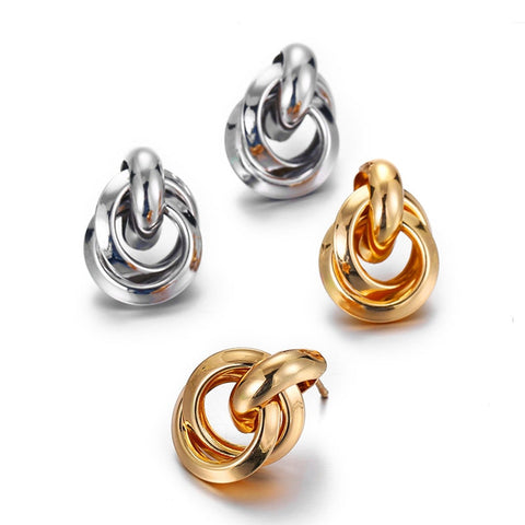 Gold Silver Color Knotted Stud Earrings
