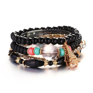 Black Natural Stones Crystals Beads Paris Charm Bracelets