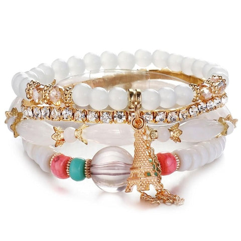 Luxury White Natural Stones Crystal Beads Paris Charm Bracelets