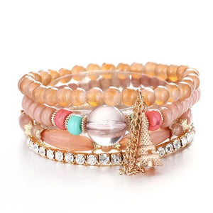 Luxury Natural Stones Crystals Beads Paris Charm Bracelets