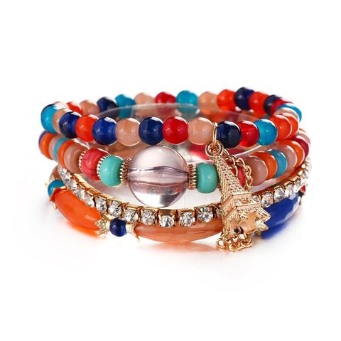 Natural Stones Crystal Beads Paris Charm Bracelets