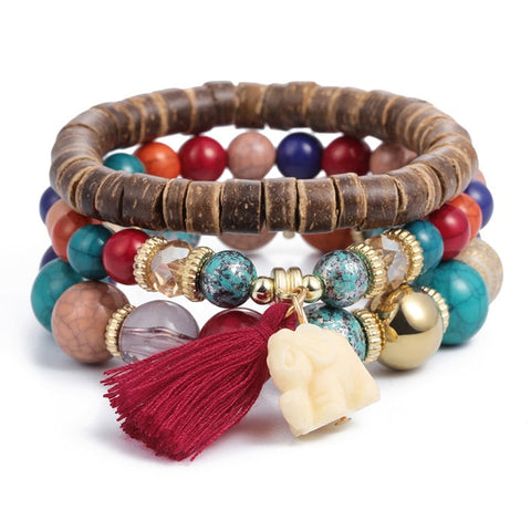 Earth Tones Natural Stones Crystal Beads Tassel Bracelets