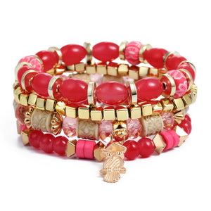 Red Natural Stones Crystal Beads Tassel Bracelets