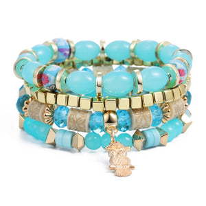 Blue Natural Stones Crystal Beads Tassel Bracelets
