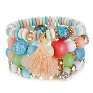Light Pastel Natural Stones Crystal Beads Tassel Bracelets