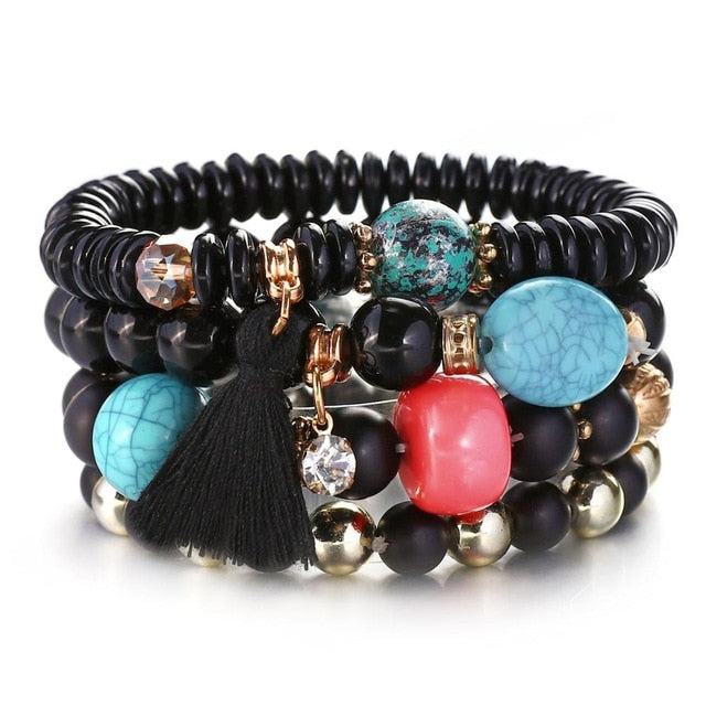 Black Natural Stones Crystal Beads Tassel Bracelets