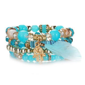 Sea Blue Natural Stones Crystal Beads Feather Charm Bracelets