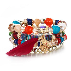 Colorful Natural Stones Feather Infinite Hamsa Charm Bracelets