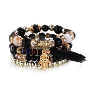 Black Gold Natural Stones Feather Fatima Hand Charm Bracelets