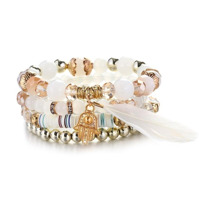 Luxury White Gold Feather Natural Stones Fatima Hand Charm Bracelets