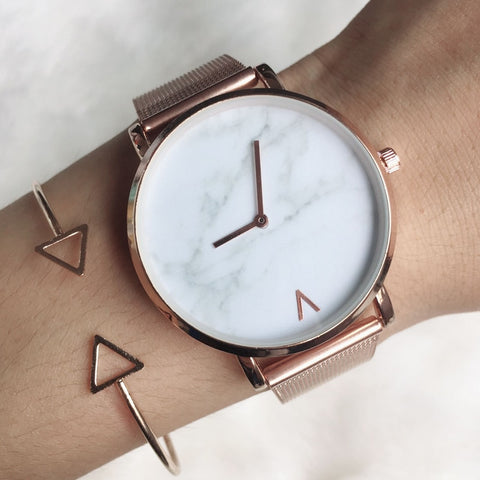 Stainless Steel Mesh Band Marble Quartz Watch
