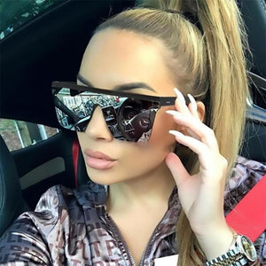 Square Oversized Sunglasses Vintage Mirror Shades Gradient UV400