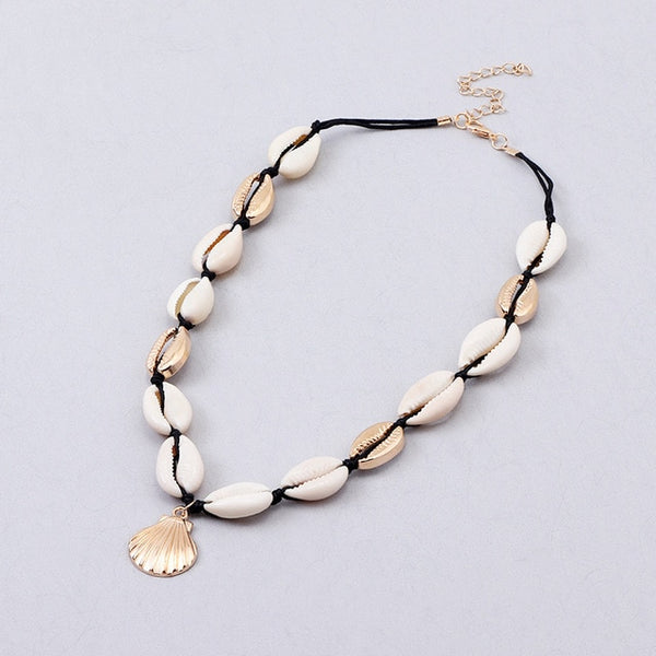 Bohemian Natural Sea Shell Cowrie Necklace