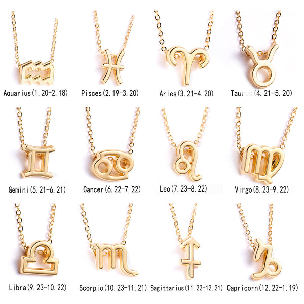 Zodiac Sign 12 Constellation Necklaces