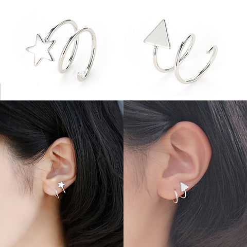 Cute Geometric Silver Stud Earrings