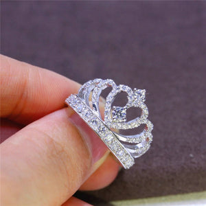 Crown Shape Rhinestone Crystal Ring Women