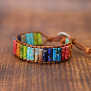 Handmade Multi Color Natural Stone Leather Couples Bracelets
