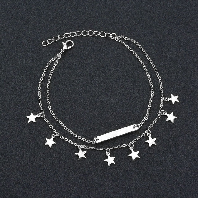 Silver Stars Double Layer Anklet