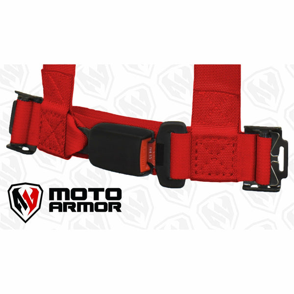 Moto Armor Four Point Harness, OEM Style Latch Red - Kombustion Motorsports
