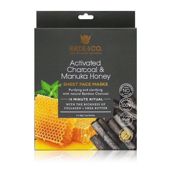 Activated Charcoal and Manuka Honey Sheet Face Masks 5pack