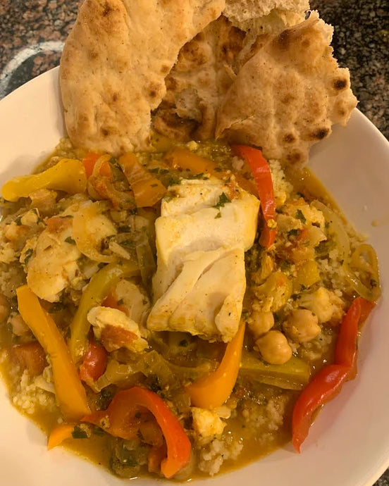 Moroccan Fish & Vegetables Over Couscous Recipe