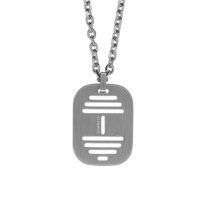 Hollow Barbell Military Plate Necklace