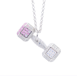 Pink Heart Crystal Dumbbell Necklace
