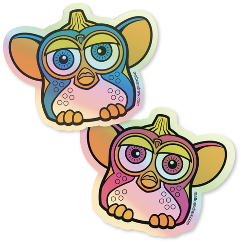UnCut Gems Holographic Furby sticker 2 pack
