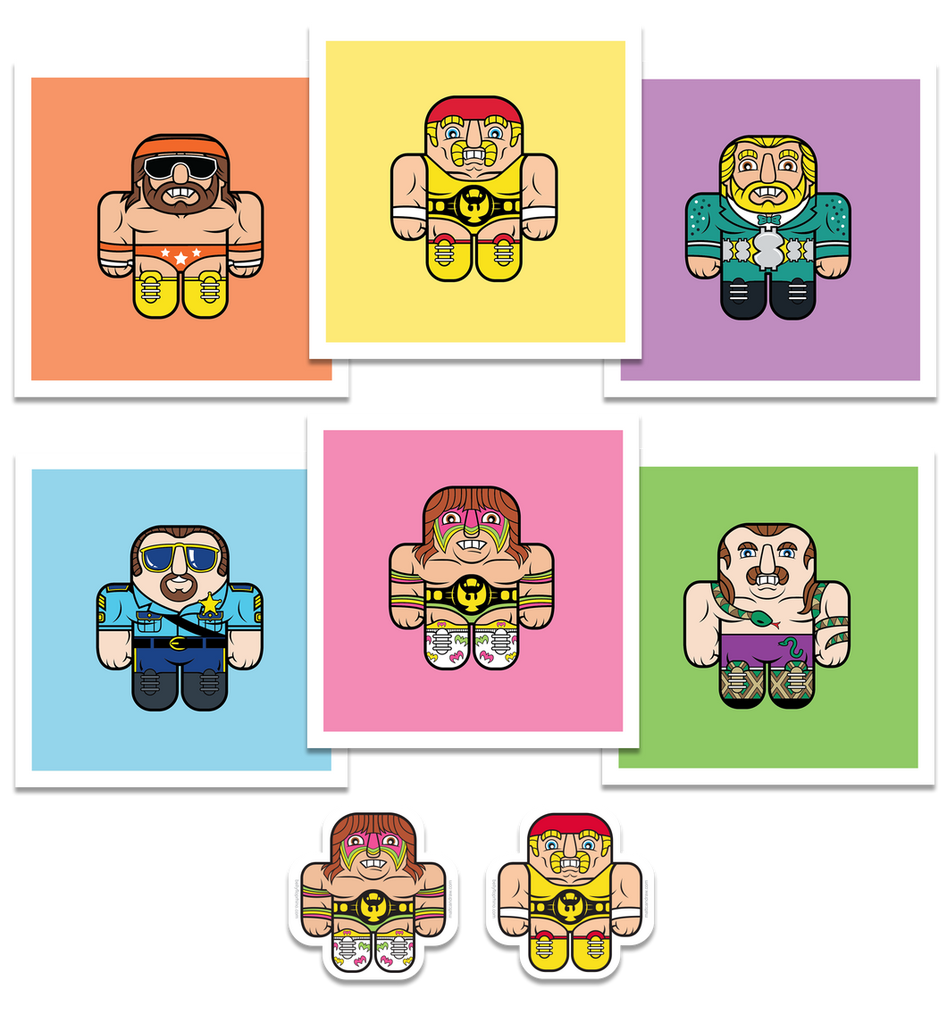 Wrestling Buddies Action Pack (prints and stickers)