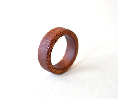 Orange Brown Mahogany Wood Promise Ring