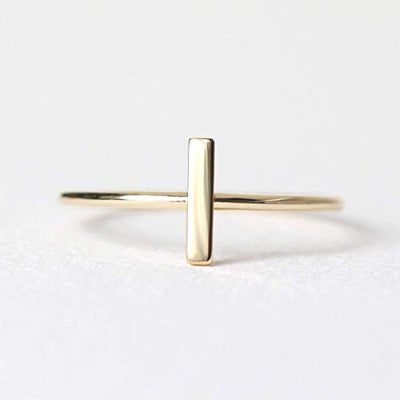 Delicate and Minimalist Gold Bar Promise Ring