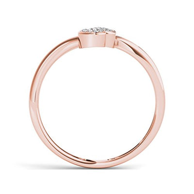 14k Rose Gold Plated 1/20ct Simulated Diamond Two Hearts Promise Ring