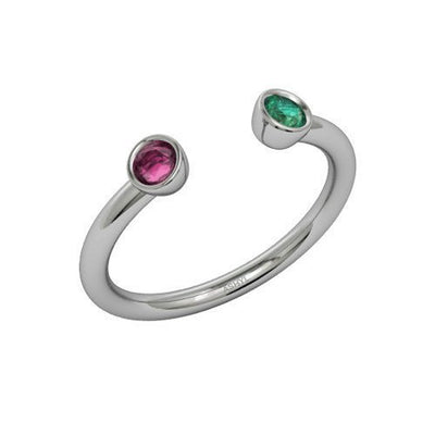 Dual Birthstone Ring - A Couples Promise Ring