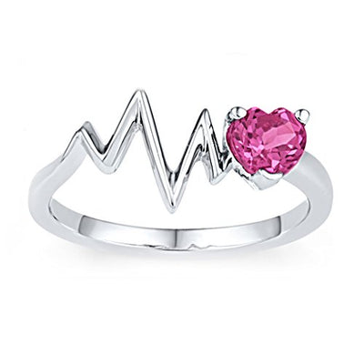 Heartbeat Ring Pink Sapphire 14K White Gold Plated