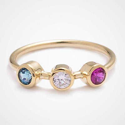 Minimalist Personalized 3 Birthstones Promise Ring