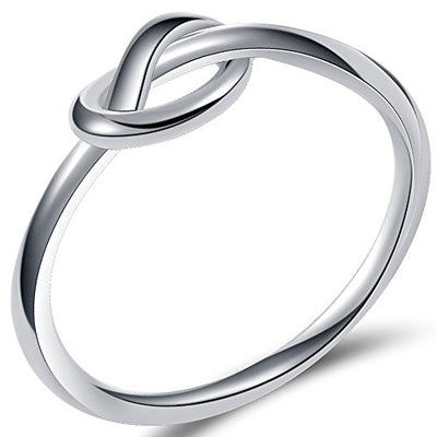 Stainless Steel Silver Black Love Knot Promise Ring