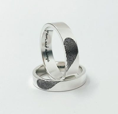 925 Sterling Silver Handwriting & Fingerprint Couples Promise Ring