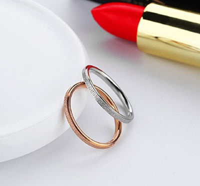 2PCS Rose Gold and Silver a Set Stainless Steel Sand Blast Finish Promise Ring