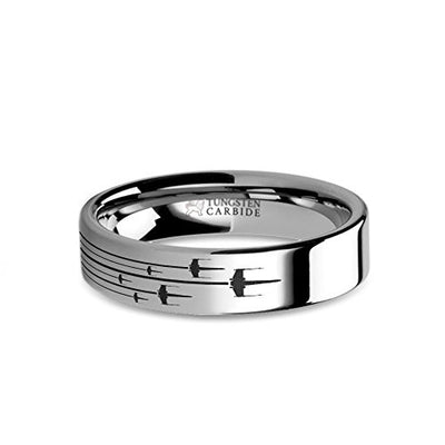 Star Wars Rogue X-Wing Squadron Laser Engraved Tungsten Ring - 6 mm