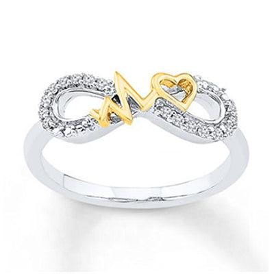 Heartbeat Infinity Ring Simulated Diamonds 14K Two Tone Gold Plated