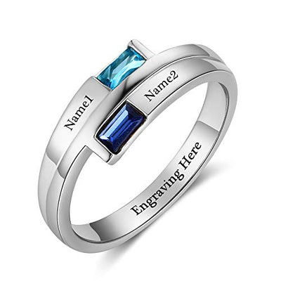 Personalized Engraved Names Lover Promise Ring w/ Simulated Birthstone