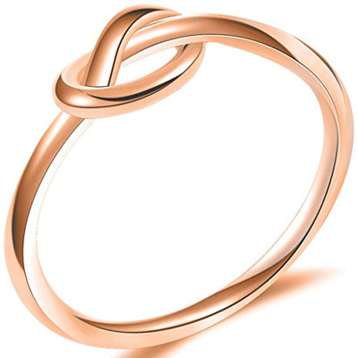 Stainless Steel Rose Gold Love Knot Promise Ring