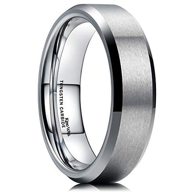Classic Mens 6mm Tungsten Carbide Comfort Fit Beveled Edges Promise Ring